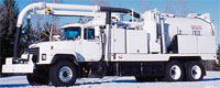 hydro excavator white truck from vac-con