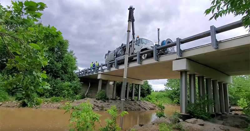 View of Vacuum Truck on bridge